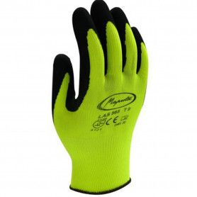 Lot de 10 gants polyamide fluo jaune mousse de latex noir - MAPROTEC